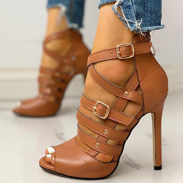 Zoeyootd Solid Hollow Out Ankle Strap Thin Heeled Sandals