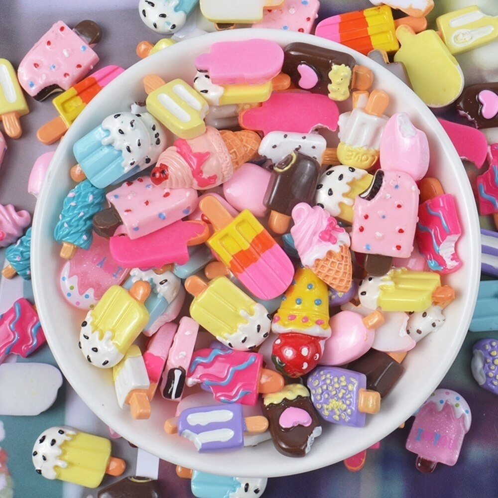 10 Pcs/lot Ice Cream Resin Charms Clay Slime Filler Polymer Addition Slime Accessories Toy