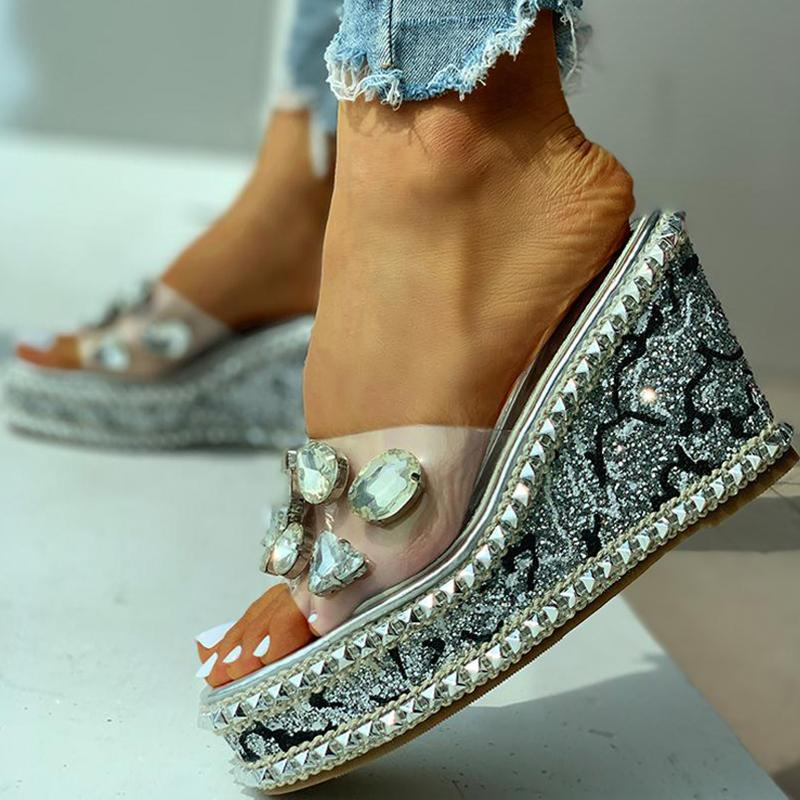 Women Rhinestone Wedge Sandals With Rivet Heeled Slippers