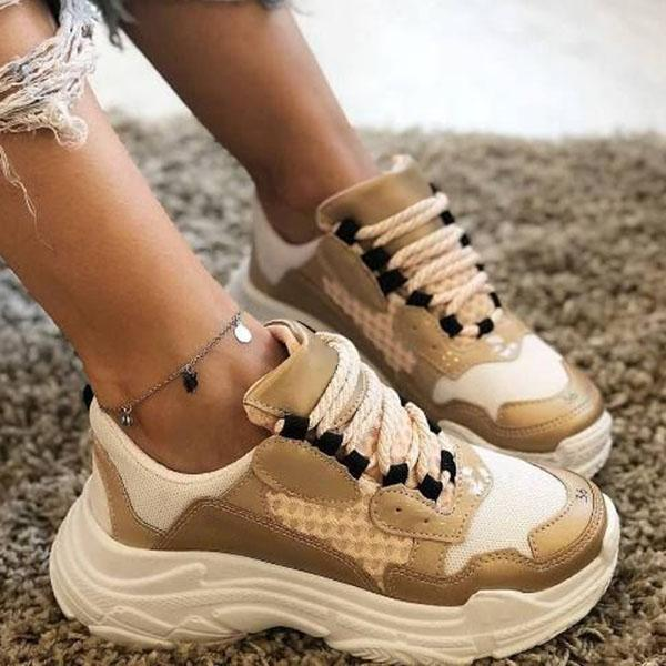 Zoeyootd Thick Sole Lace-Up Mesh Casual Multicolor Sneakers