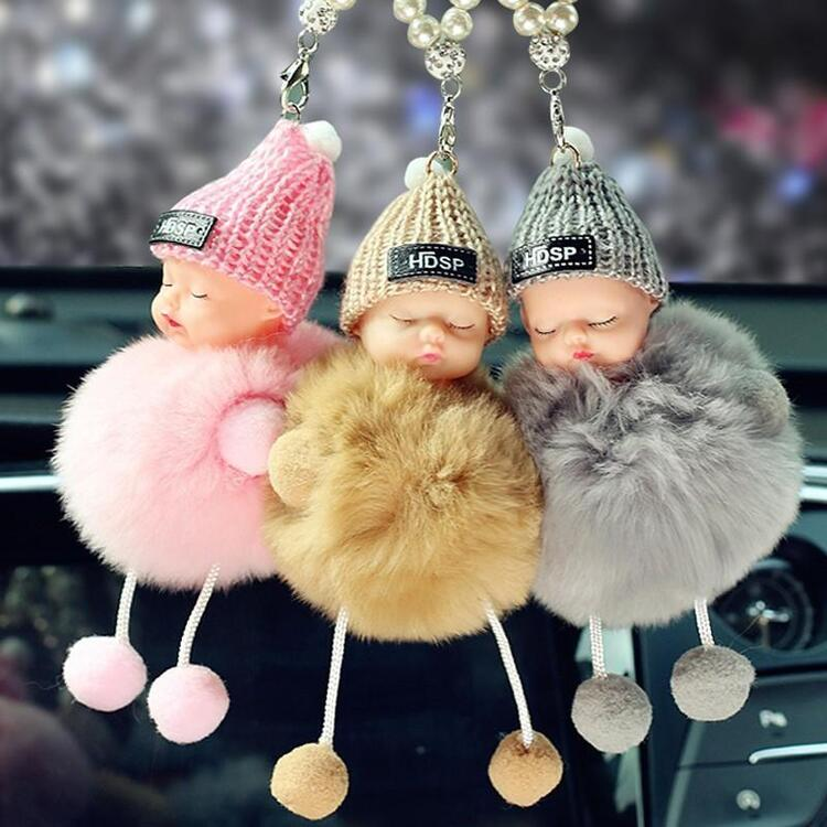 😍(BUY 8 FREE SHIPPING)😍Cute Sleeping Baby Doll Plush Doll Keychain Bag/Car Pendant