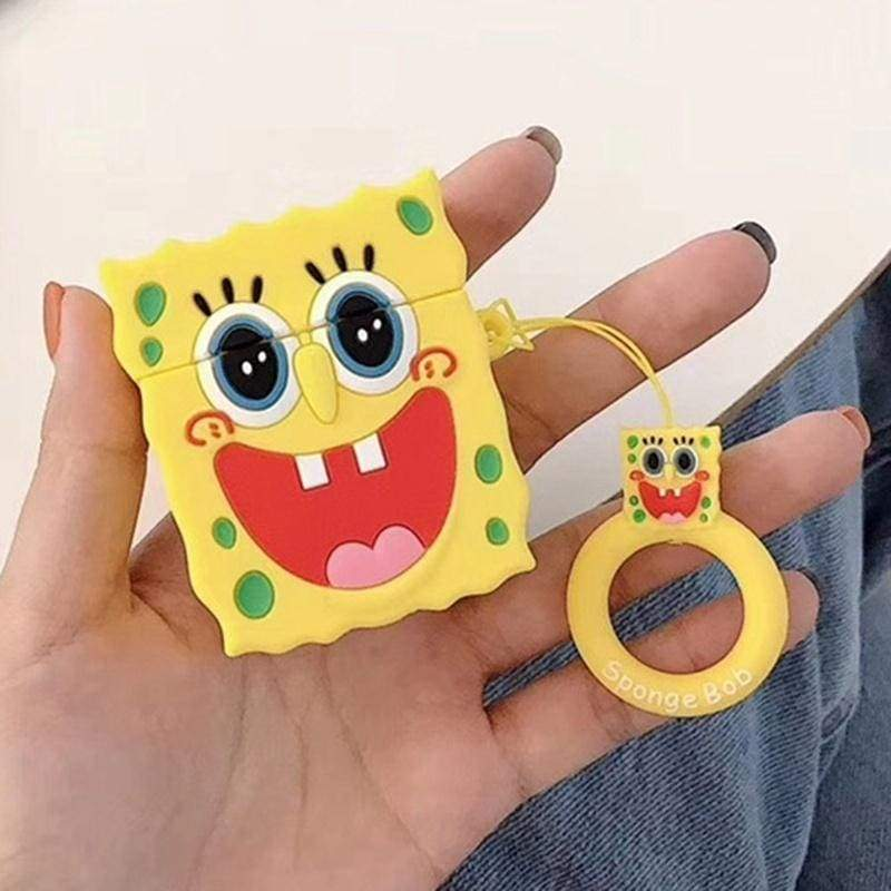 3D Cute Spongebob Silicone Protective Sleeve Case Cover Skin For Apple Airpod 1/2 Earphone(No Airpods)