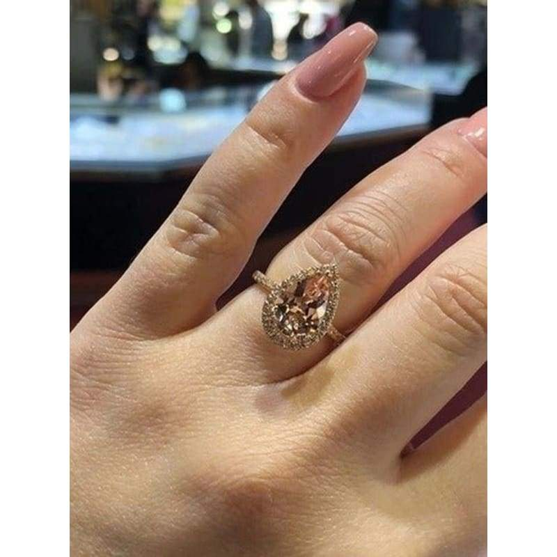 Rose Gold Champagne Diamond Ring Water Drop DIAMOND RING 925 Silver Wedding Dress Jewelry Engagement Ring