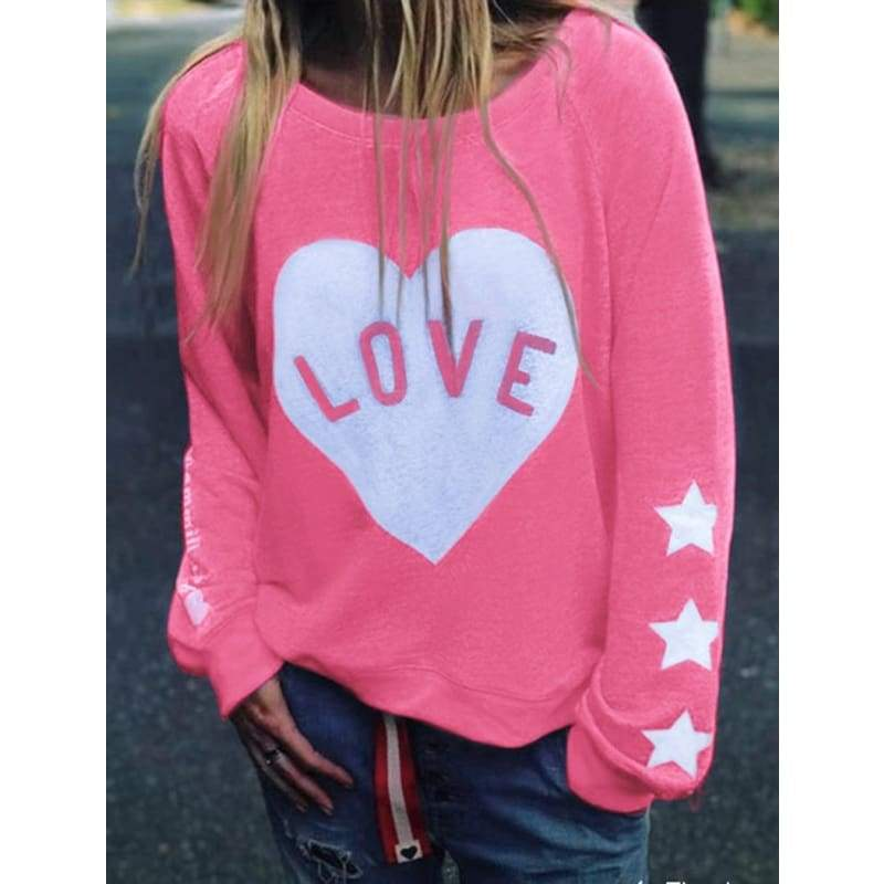 New Fashion Women Autumn Sweatshirt Casual Love Printed Top Loose Long Sleeve Round Neck Shirt Pullover Plus Size