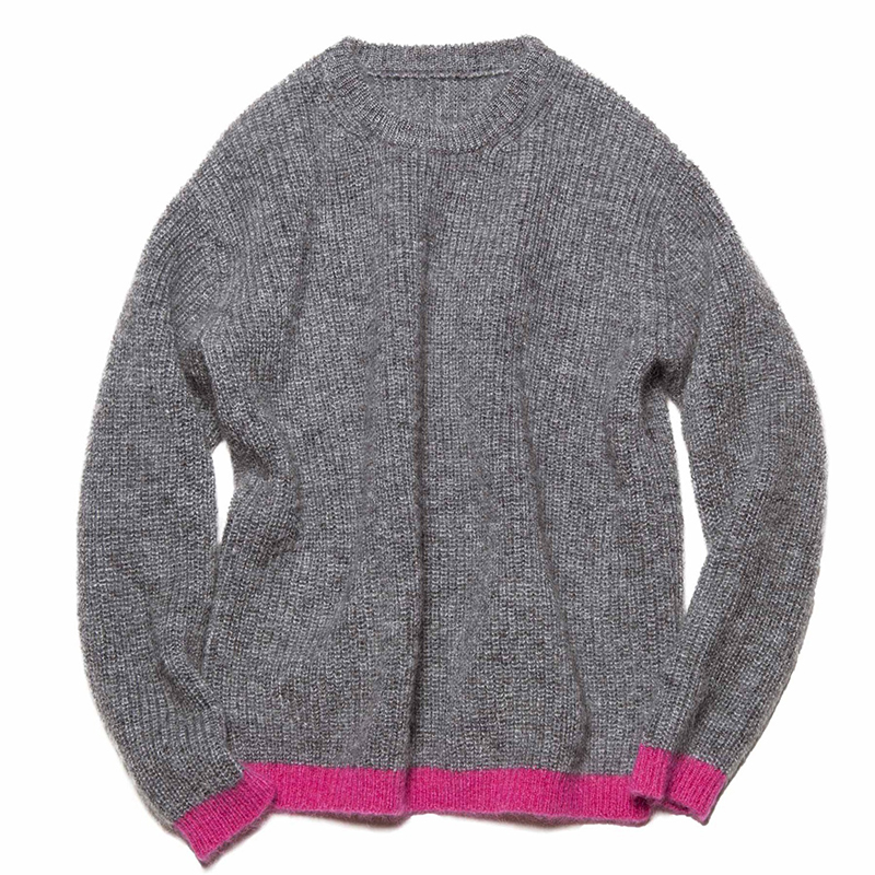 Grey and red contrast knitted sweater