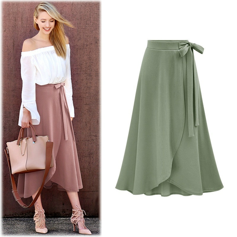 Female Skirt Irregular Elastic Wais Loose Plus Size A-line Skirts Hip Slim Medium-long Sheds Skirts Women Bowknot Skirts