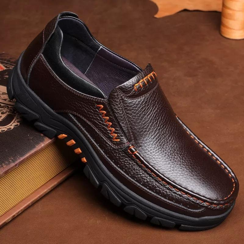 Men Genuine Cow Leather Waterproof Comfy Non Slip Soft Shoes