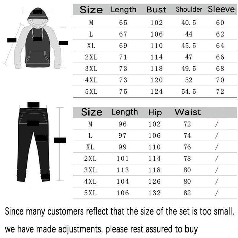 Newest Fashion Men's Jogging Hoodie Sweatpants Set Pullover Sweat Pants Sports Tracksuit Plus Size XS-4XL