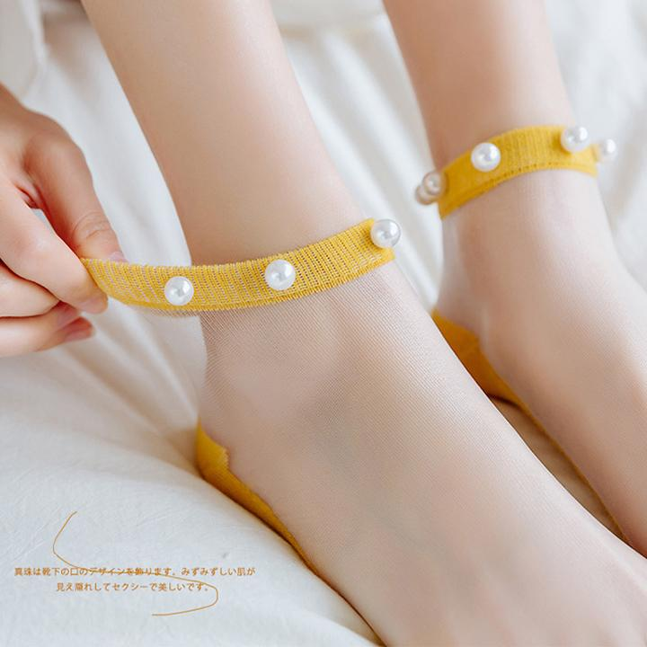 (50% Off Only Today)10 Colors Crystal Tulle Pearl Socks