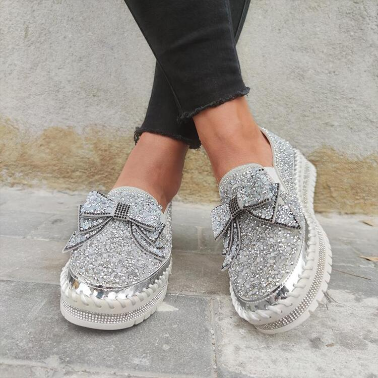 Women Shining Rhinestone Fashion Slip-on Bowknot Flats(Please go up 1 Size)