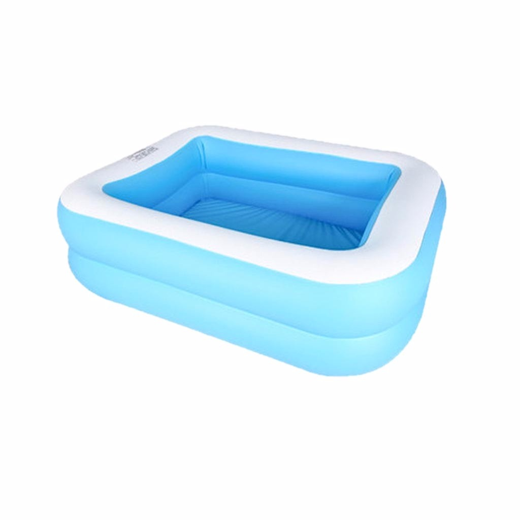 Inflatable Kiddie Pool, 43/50/61' Blue Kids Swimming Pool Summer Water Fun Bathtub, Children's Family Inflation Pool Baby Ocean Ball Sand Pool Bath Toys Square