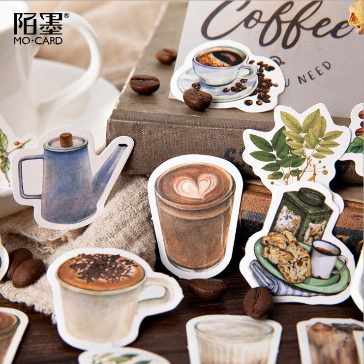 New 46pcs/pack Coffee Life Decorative Stickers DIY Decoration Diary Coffee Stickers School Stationery