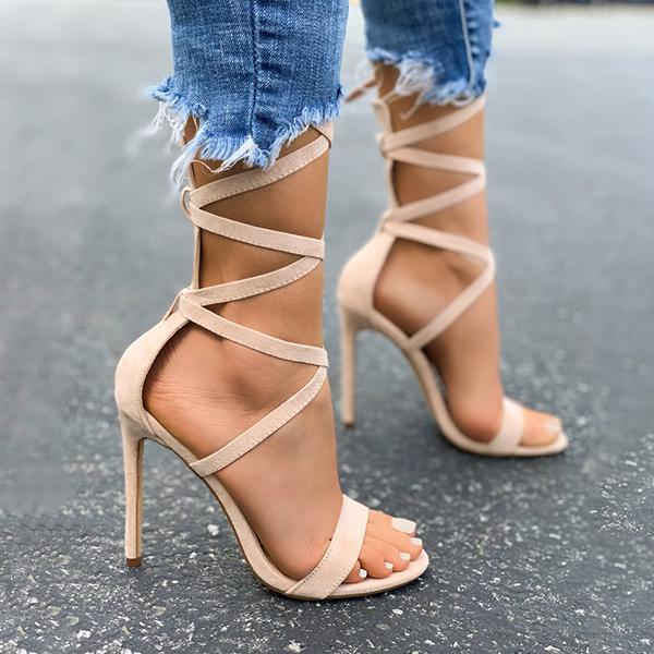 Bonnieshoes Lace-Up Closure Single Sole Heels