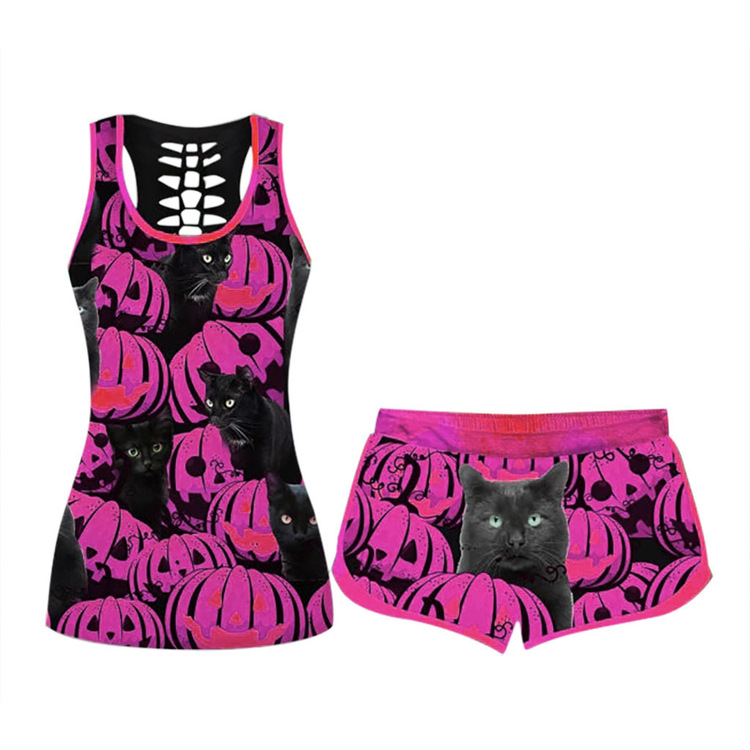 🎃Women's Comfy O-Neck Halloween Elastic Drawstring PJ Set (true to size)