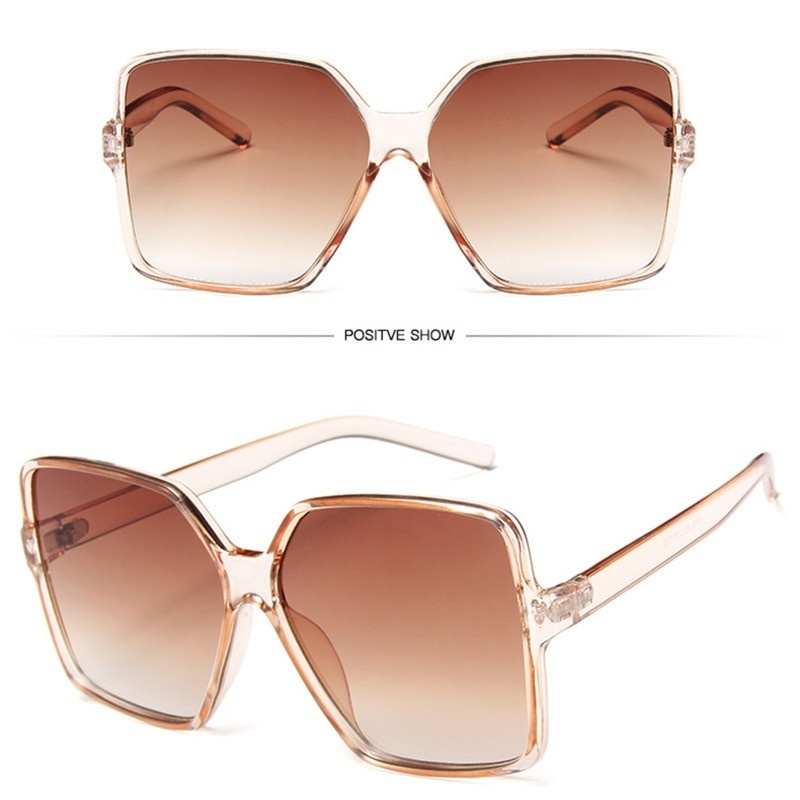 2019 Retro Big Square Sun Glasses Women Men Oversized Sunglasses  Gradient Brand Designer Ladies Sunglasses Uv400 Gafas De Sol Mujer