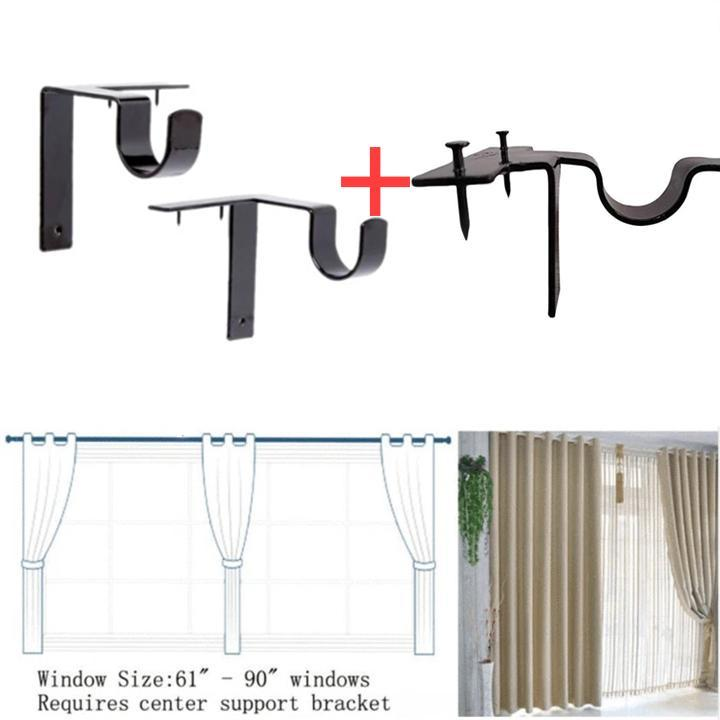 (Only $19.98 a set of two) No Drill Curtain Rod Brackets Holders