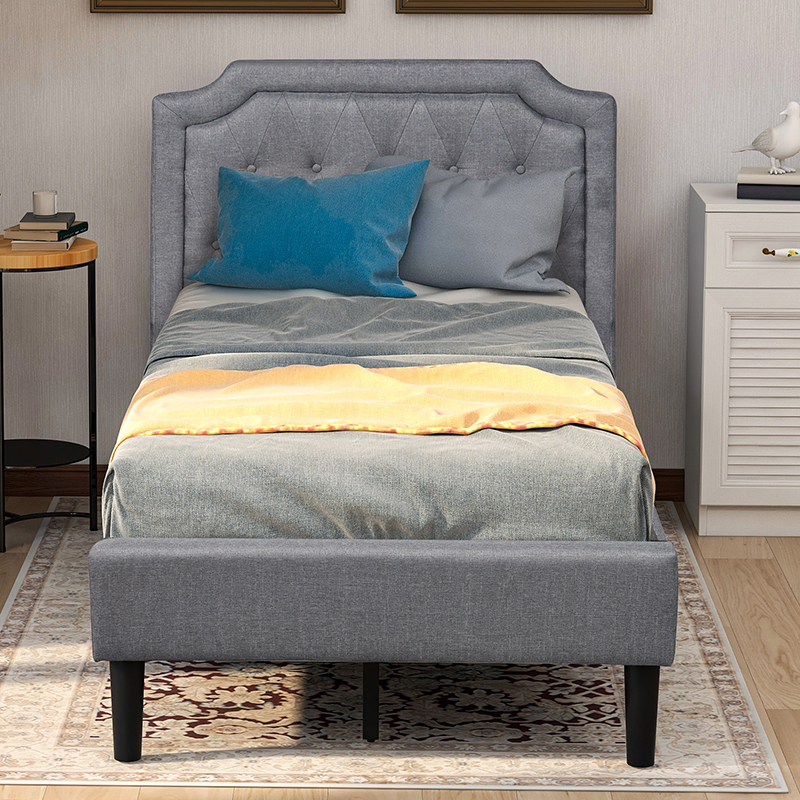 Buyonhome Upholstered Scalloped Linen Platform Bed Twin Size
