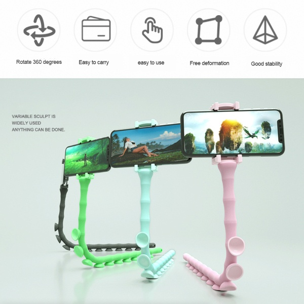 Octopus Caterpillar Lazy Bracket Mobile Phone Holder Stand Worm Bracket Suction Cup Support Wall Desktop Pillar Holder