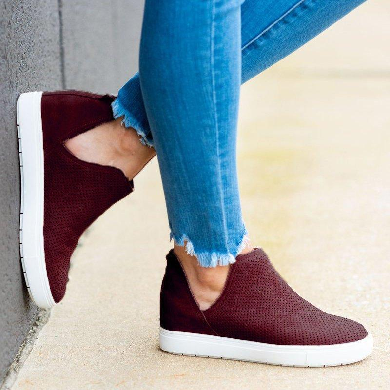 Zoeyootd Slip-On Round Toe Breathable Sneakers