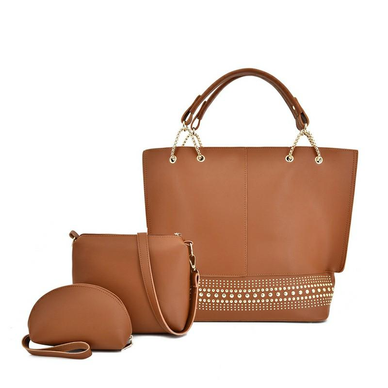 Three-piece set of brown leather lady bags