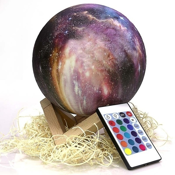 Upgrade 3D Printed Starry Sky Lamp 16 Color Changing LED Magical Galaxy Moon Night Light  Decoration Gift(4/8/15cm)