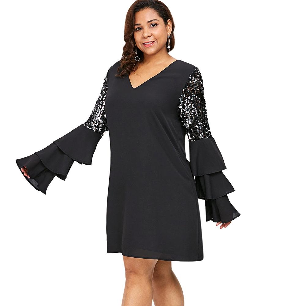 Plus Size V Neck Tiered Flare Sleeve Shift Dress