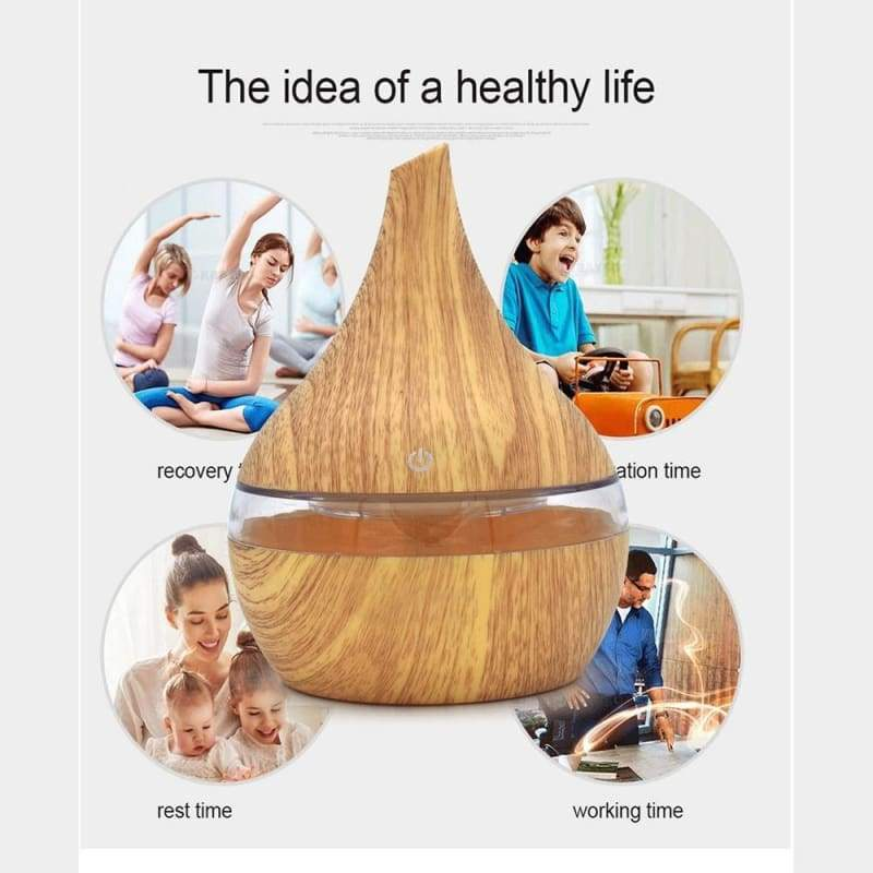 300ml USB Aroma Essential Oil Diffuser Ultrasonic Air Humidifier with Wood Grain 7Color Changing LED Lights