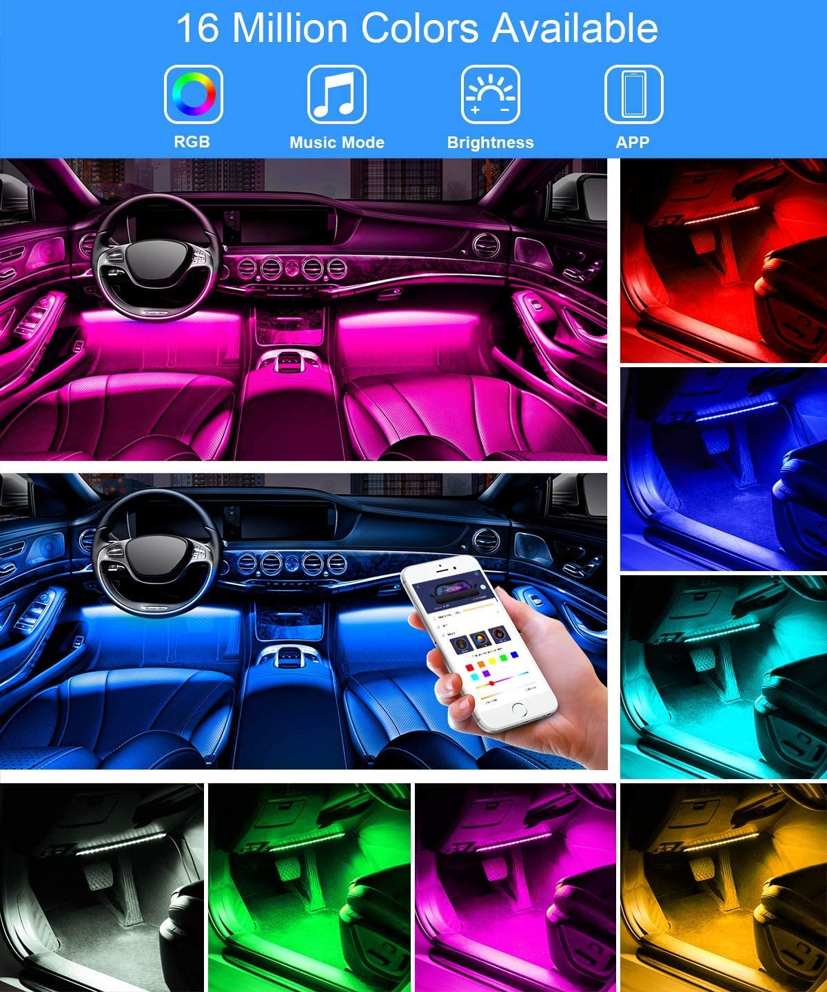 Wireless Remote Control Car LED Music beat Strip Light