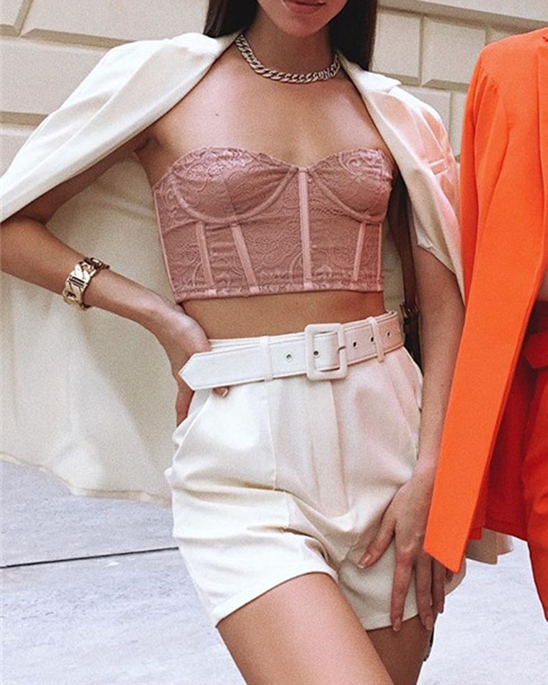 Fashion Casual Solid Color Shorts Two-Piece Suit With Belt