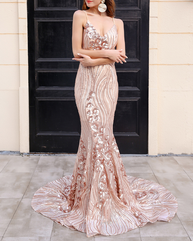 Sexy Off-The-Shoulder Strap Sequin Maxi Evening Dress