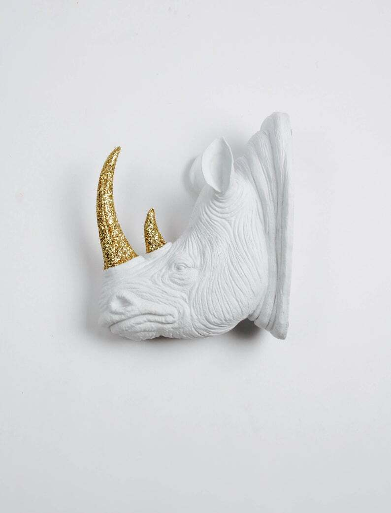 The Goliath in White + Gold Glitter Resin - Rhino Head - White Faux Taxidermy