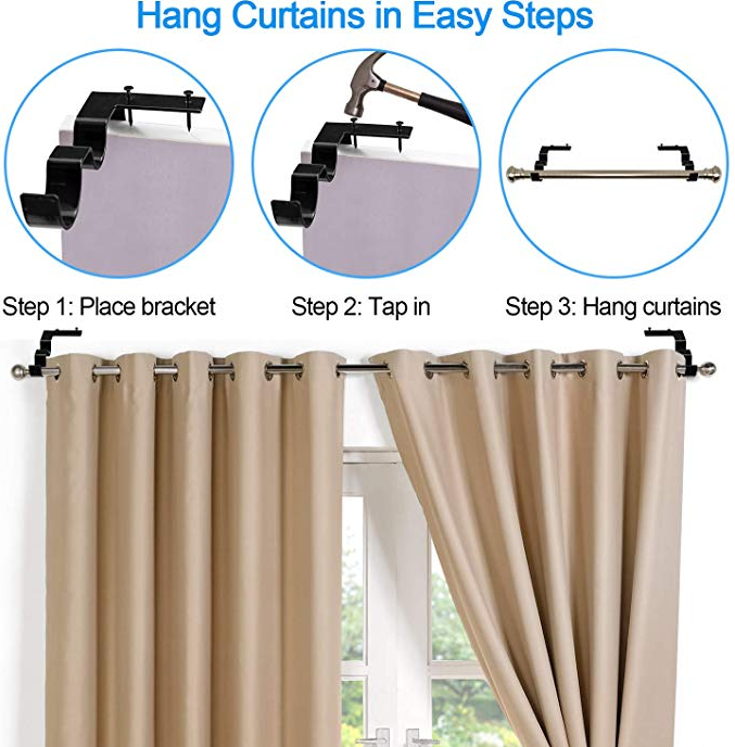 (Last day promotion 50% OFF) No Drill Curtain Rod Brackets Holders - 1 Set