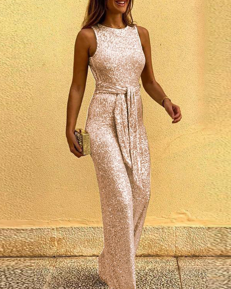 Sexy Sleeveless Backless Lace-up Sequin Jumpsuit