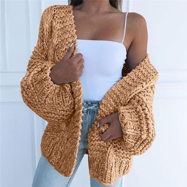 Women's batwing sleeve knitted cardigan cute open front chunky cardigan sweater