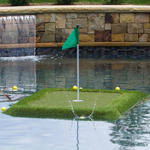 Floating Golf Turf Game Mat Residential Practice Hitting Mat (including 8 balls and 2 pads)
