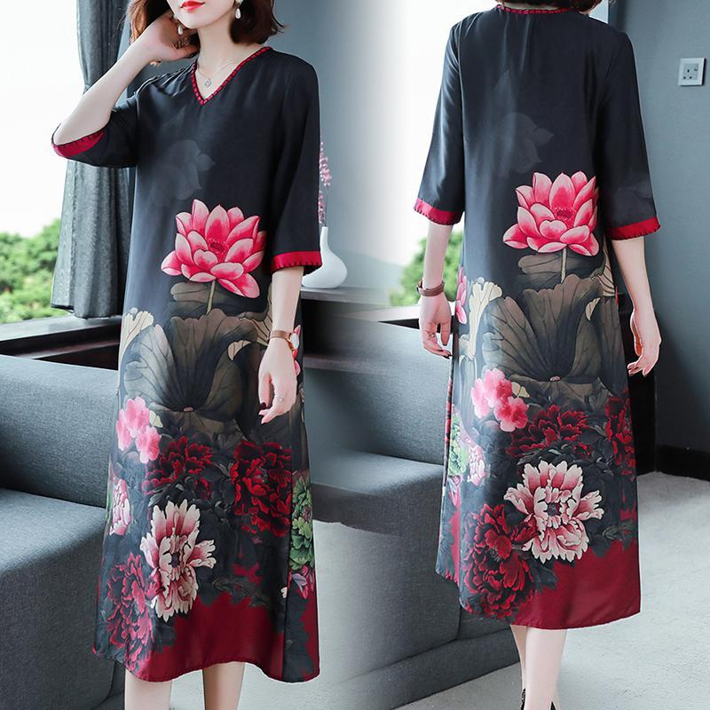 Lotus printed loose-styled classic dress