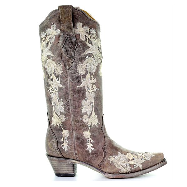 Flower Embroidery Western Boots