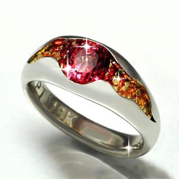 Elegant Temptation Exquisite Women Fashion Ruby Ring Classic 925 Sterling Silver 14K Yellow Gold Two-tone Natural Red Sapphire Diamond Ring Pretty Princess Engagement Wedding Ring Anniversary Birthday Party Gift Jewelry Size US5-11