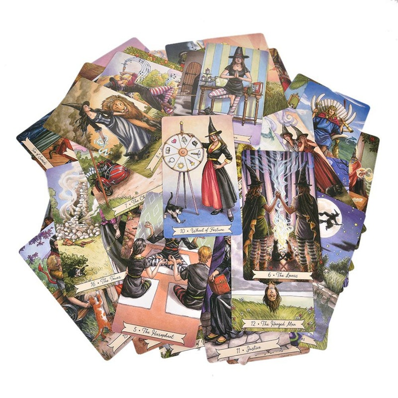 78Pcs Everyday Witch Tarot Card English Board Game Playing Card Guidance Divination Fate Tarot Deck Cards for Party Entertainment