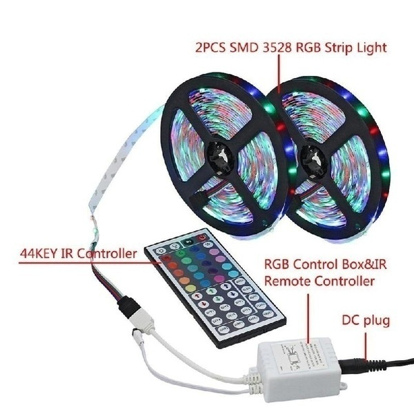 Newest 1/3/5/10/20M RGB LED Light Strip 3528 SMD Flexible Color Changing Light String +44 Key IR Remote Control for Home Lighting Kitchen Bed Decoration