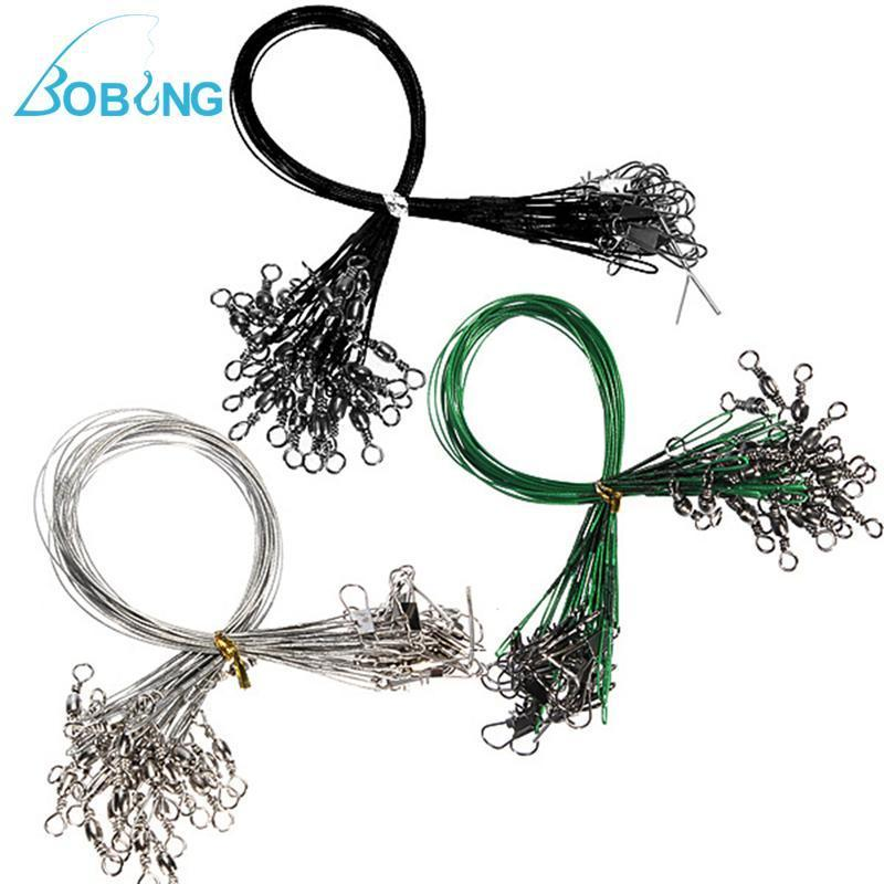 Bobing 72Pcs/Pack Fishing Trace Lures Leader Stainless Steel Wire Spinner Line