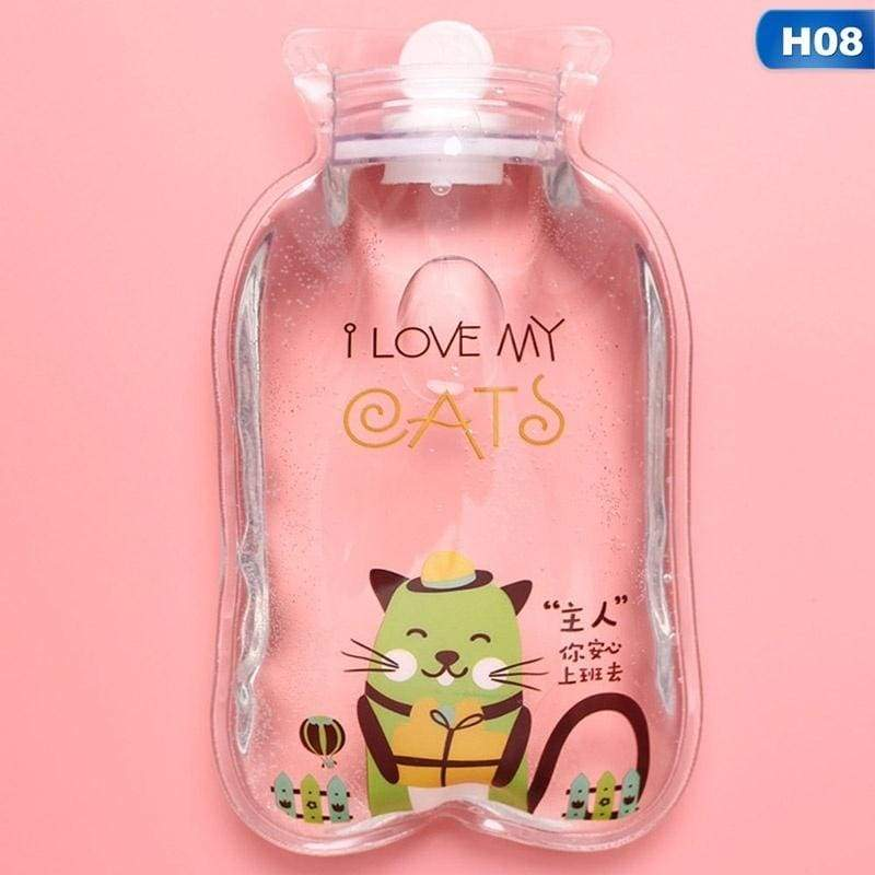 1 Pc Cute Transparent Hot Water Bottle Warm Belly Treasure Cartoon Hand Warmer Filled Mini Explosion-Proof Portable Hot Water Bags