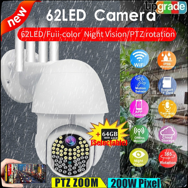 Newest Upgrade 62 LED IP Camera Red+Blue Lights Onvif WiFi 5MP HD 1080P Wireless Speed Dome CCTV IR Camera Outdoor Security Surveillance NetCam With Full Color Night Vision