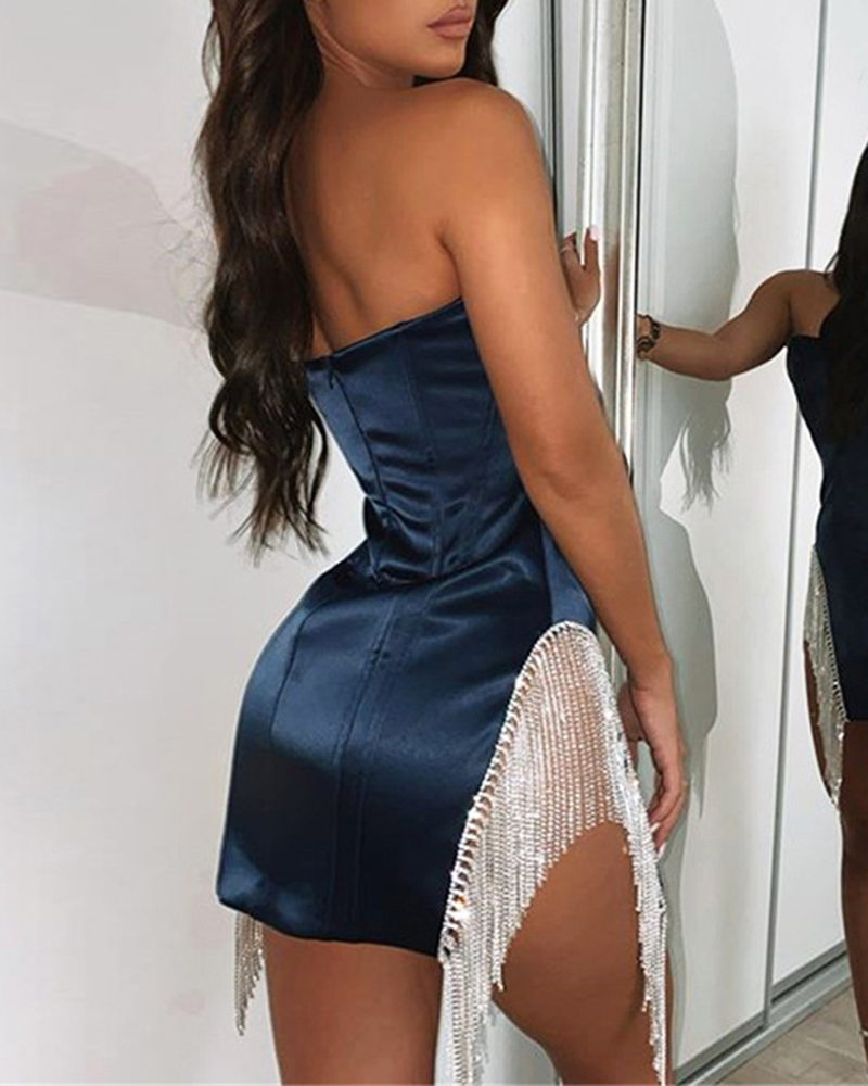 Casual Party Strapless Sequin Tassel Mini Dress
