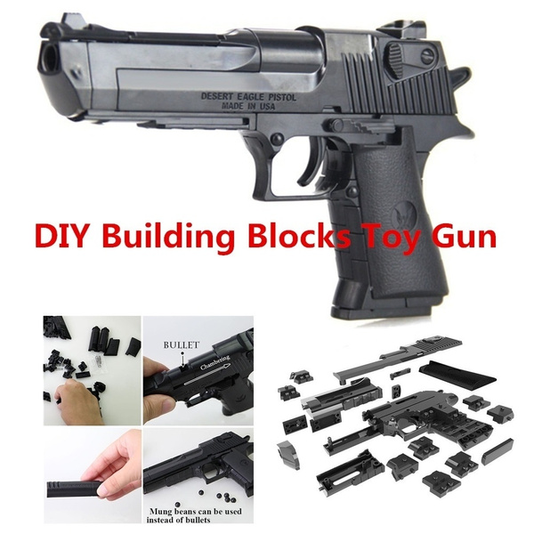 Pistola Airsoft Creative DIY Building Blocks Toy Gun Desert Eagle Assembly Toy Puzzle Brain Game Model Can Fire Bullets(Mung Bean) with Instruction Book
