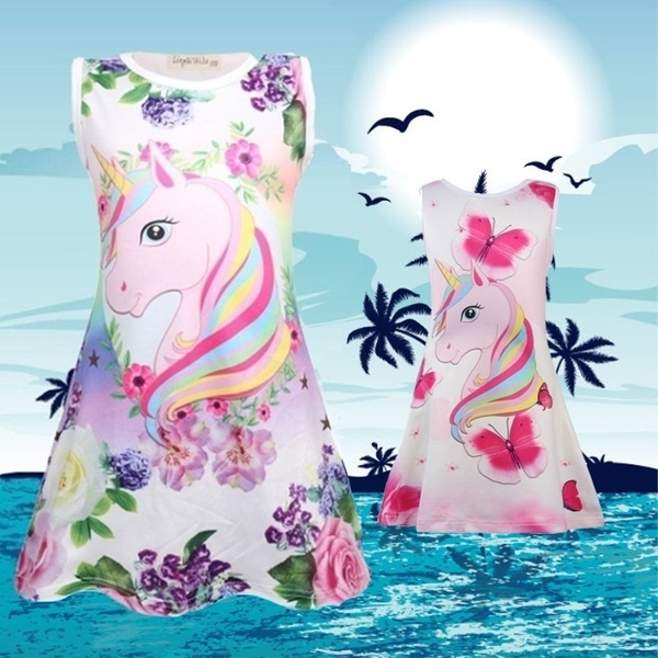 Fashion Pajamas Loose Children's Nightdress Personality Unicorn Sleeveless Summer Nightdress 3-8 Years Old