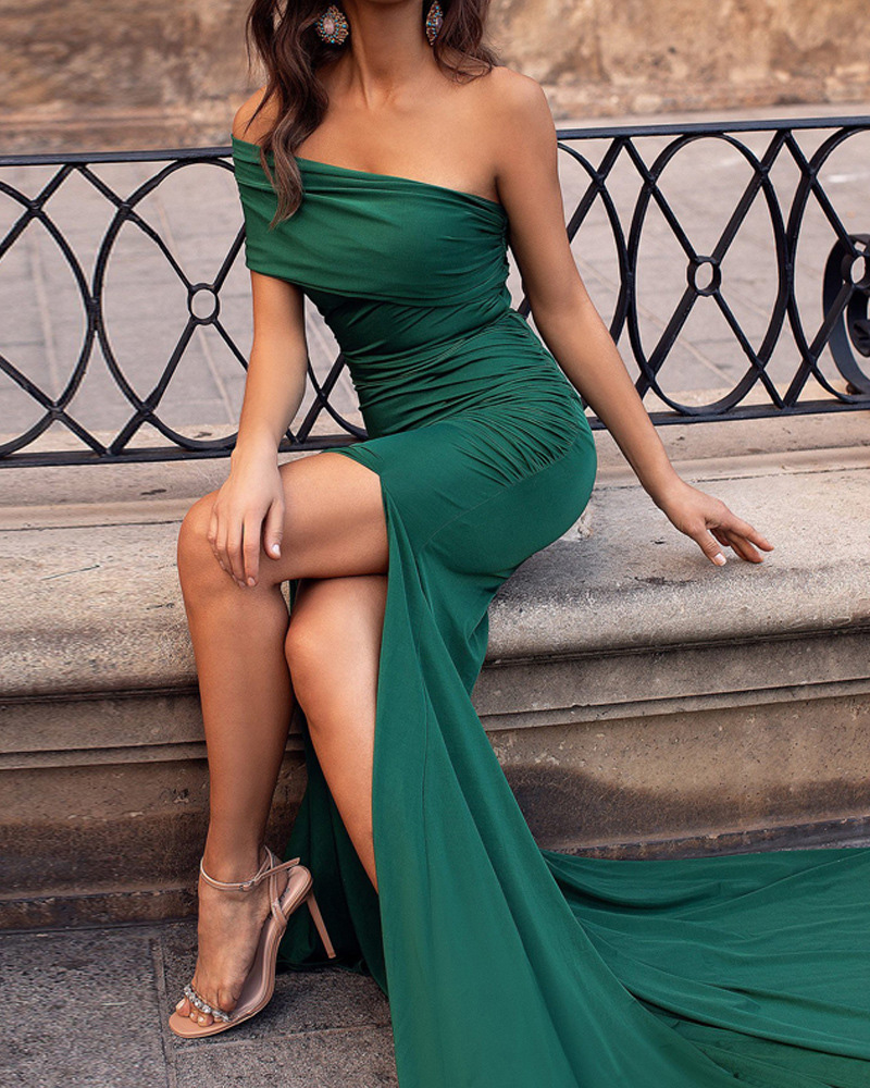 Off-The-Shoulder Slim Maxi Evening Dress