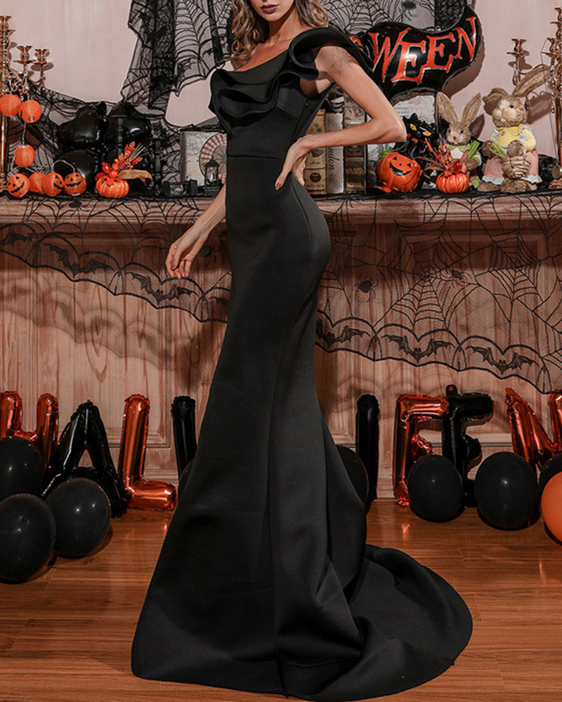 Pure Color Tail Fishtail Evening Dress