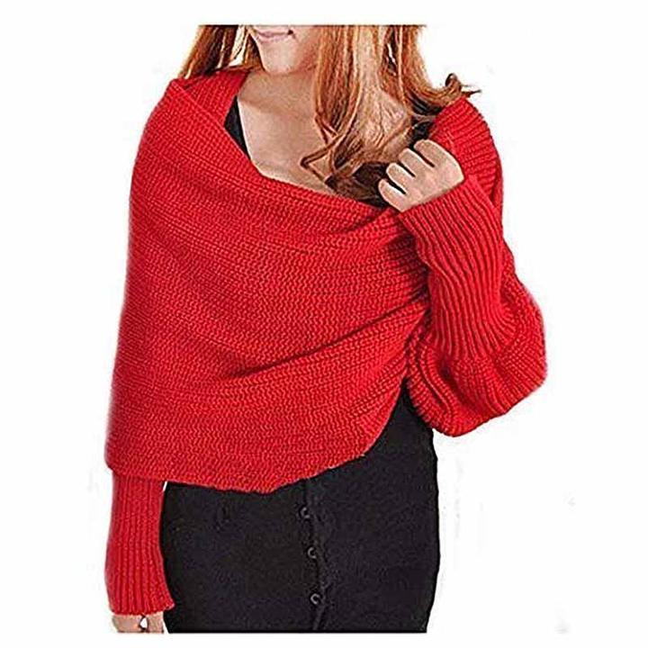 Knitted Wrap Scarf With Sleeves (Buy 2 free shipping )
