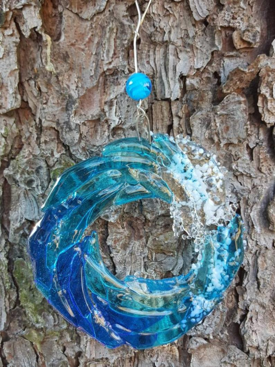 🌊Fused Glass Ocean Suncatcher Ornament Glass Wave Sun Catcher-OVER $39, FREE SHIPPING